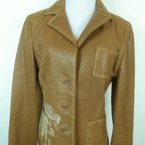 new Raw 7 brown distressed leather skull blazer M